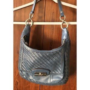 Coach Blue Basket Weave Leather Shoulder B…